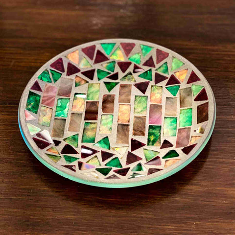 Glass Candle Plate Moroccan Mosaic