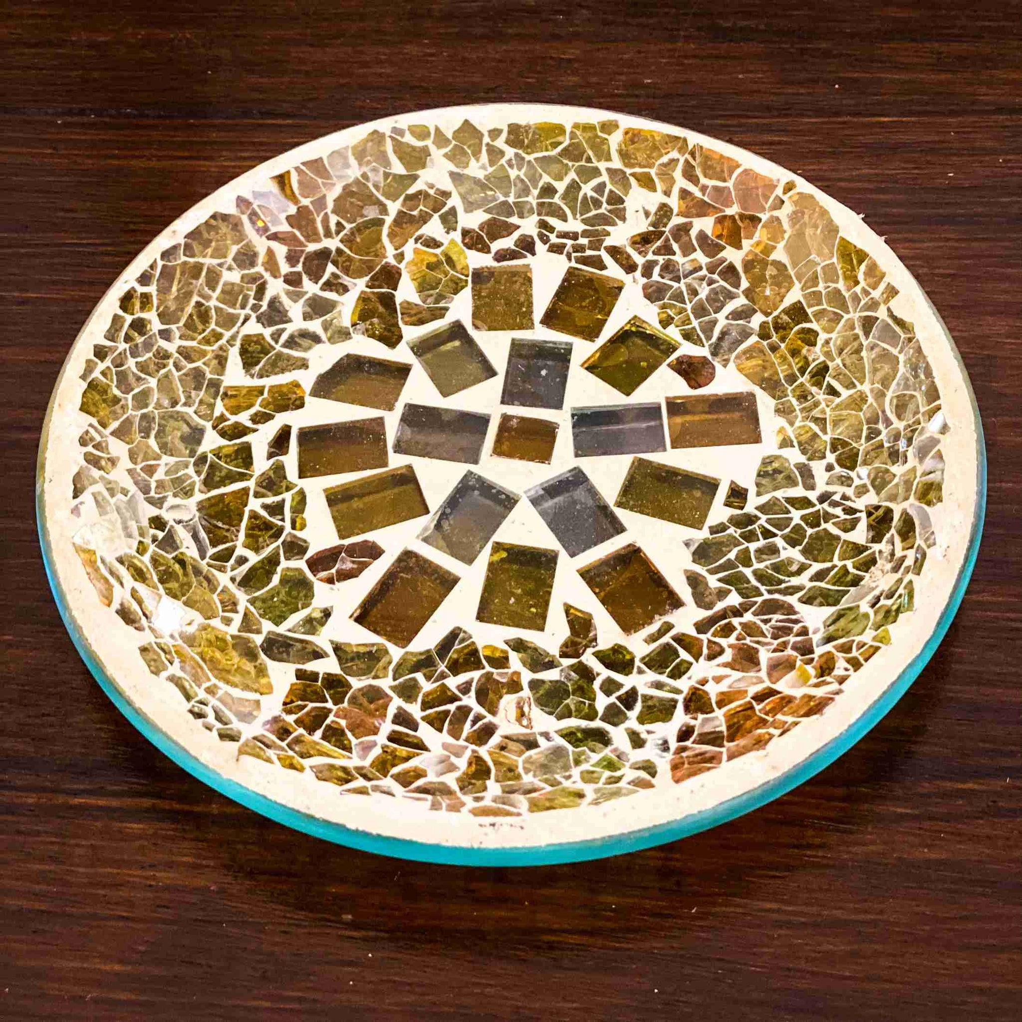 Glass Candle Plate Golden Sands