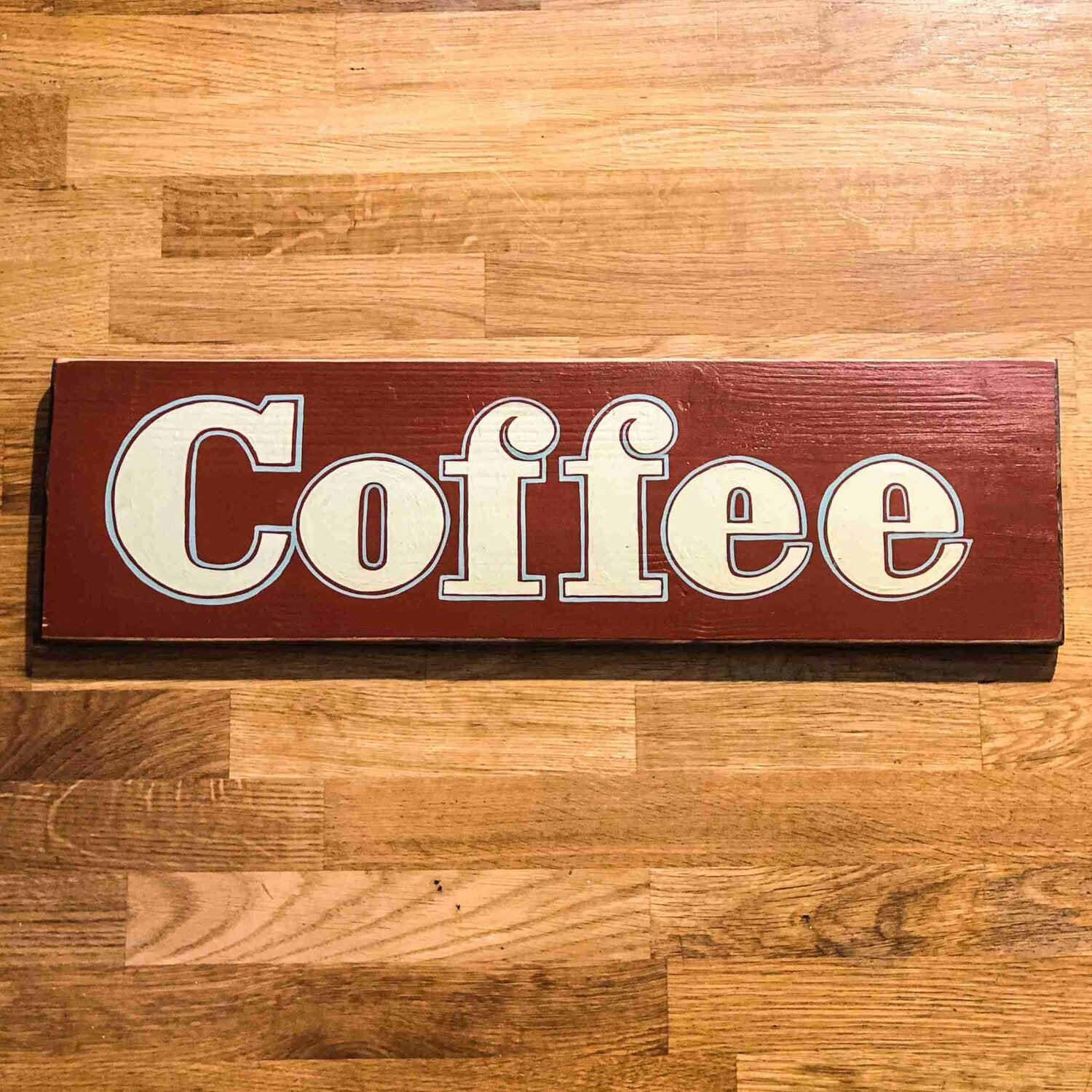Coffee (Red) Handmade Wooden Sign