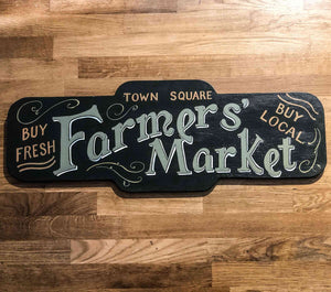 Town Square Farmer's Market Handmade Wooden Sign