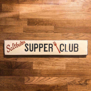 Saltburn Supper Club Handmade Wooden Sign