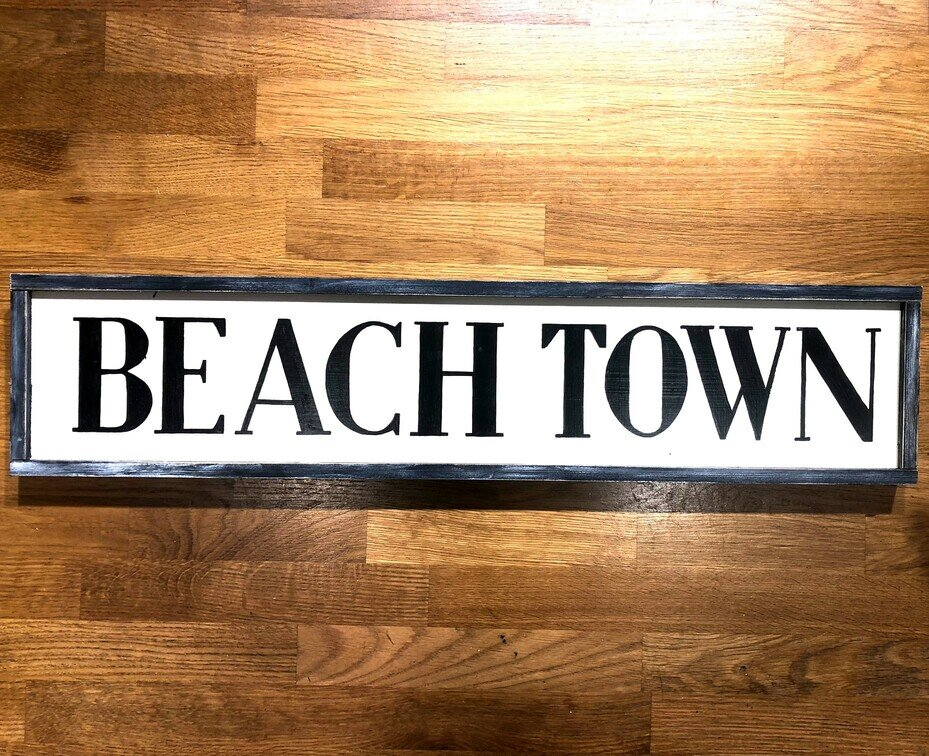 Beach Town Handmade Wooden Sign