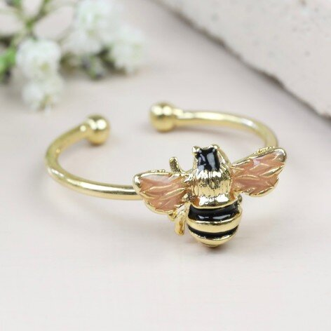 Gold Adjustable Bee Ring