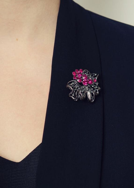 Electric Pink Rose Brooch & Hairclip