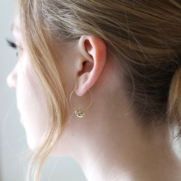 Sloth Hoop Earrings (Gold)