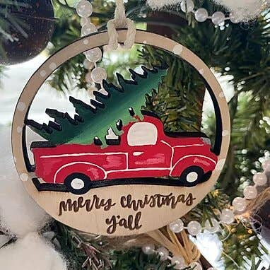 Merry Christmas Y'all Vintage Truck Ornament