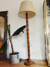 Load image into Gallery viewer, Large wooded bamboo lamp c.1970