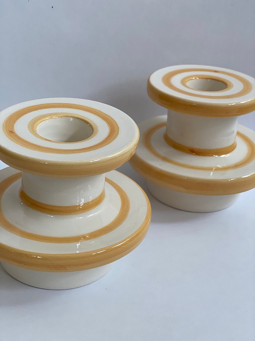 Sicilian ceramic candle holders x 2