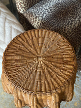Load image into Gallery viewer, French frilly rattan side table c.1970