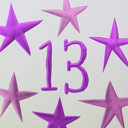 Card: 13th Birthday  (Pink Stars) - Coorie Doon