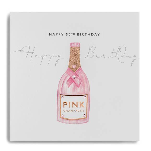 Card: 50th Birthday (Pink Champagne) - Coorie Doon