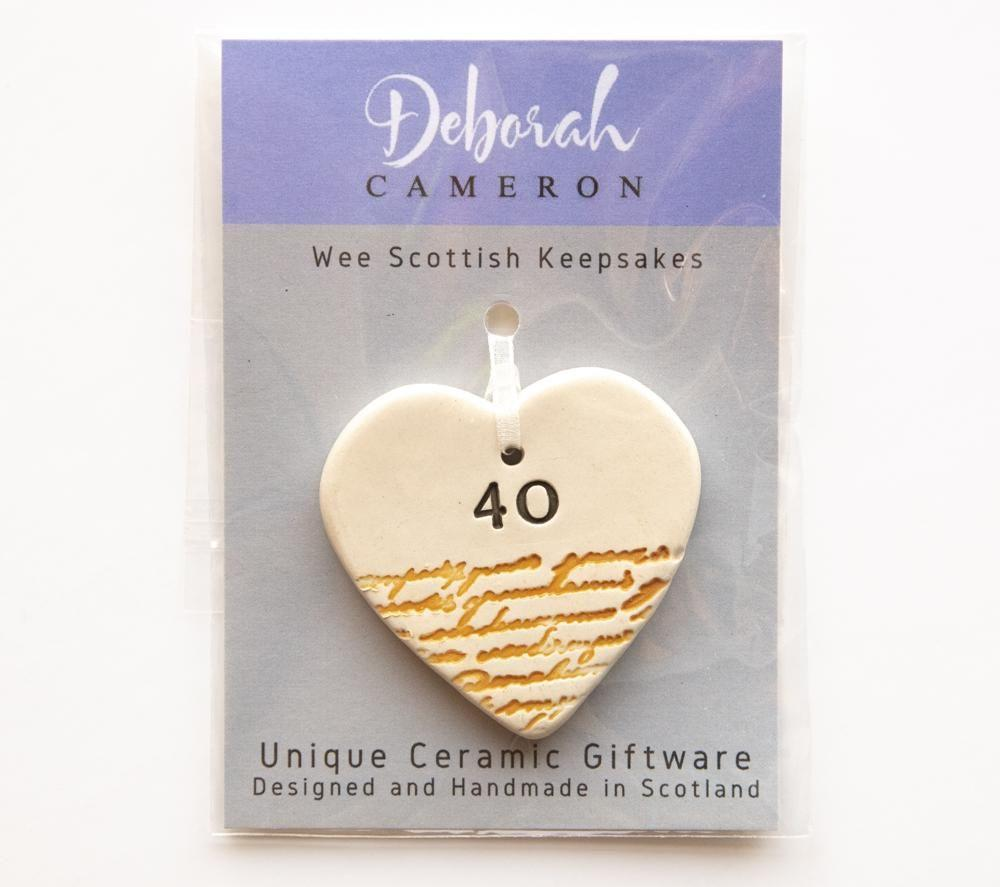 Keepsake Birthday Heart - 40 - Coorie Doon