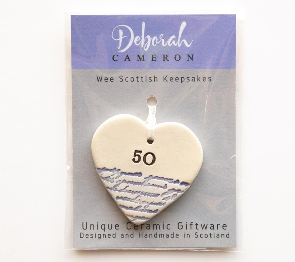 Keepsake Birthday Heart - 50 - Coorie Doon