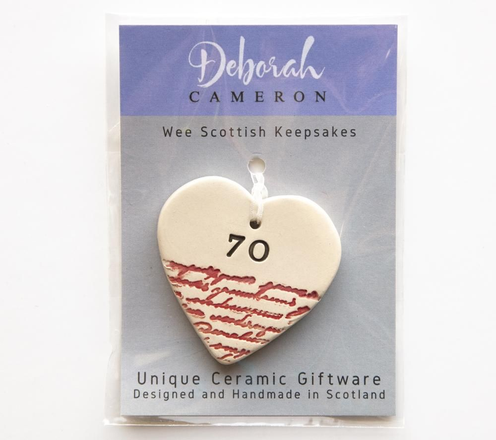Keepsake Birthday Heart - 70 - Coorie Doon