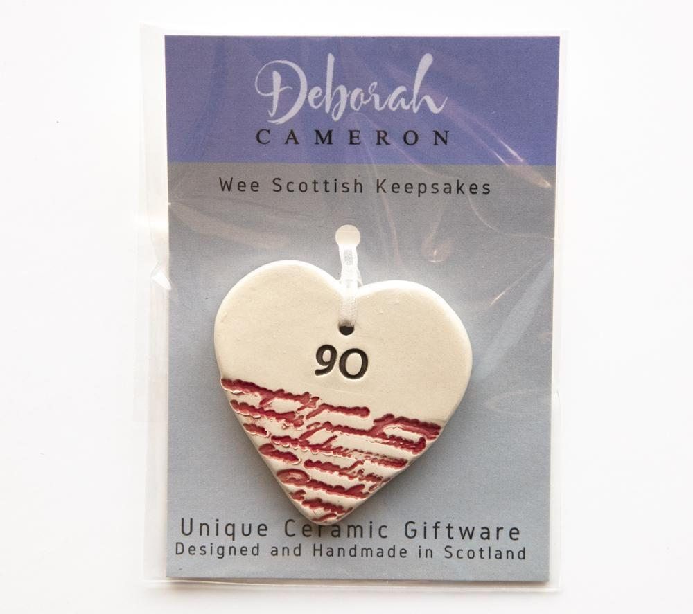 Keepsake Birthday Heart - 90 - Coorie Doon