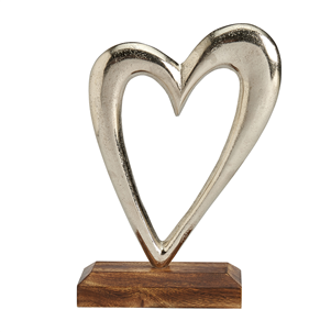 Large Silver Heart on Wooden Base - Coorie Doon