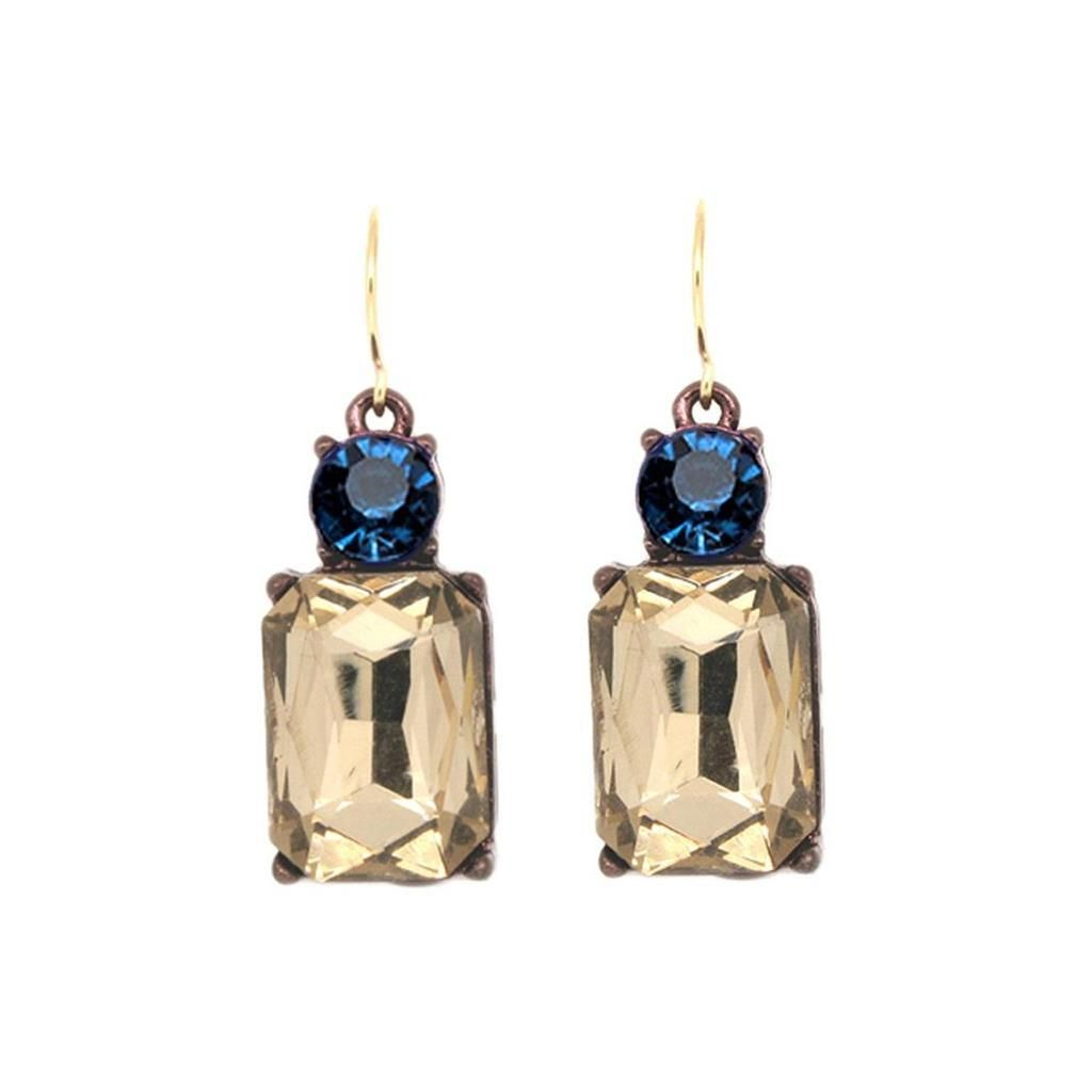 Last True Angel Smoky Gold & Navy Gem Earrings - Coorie Doon