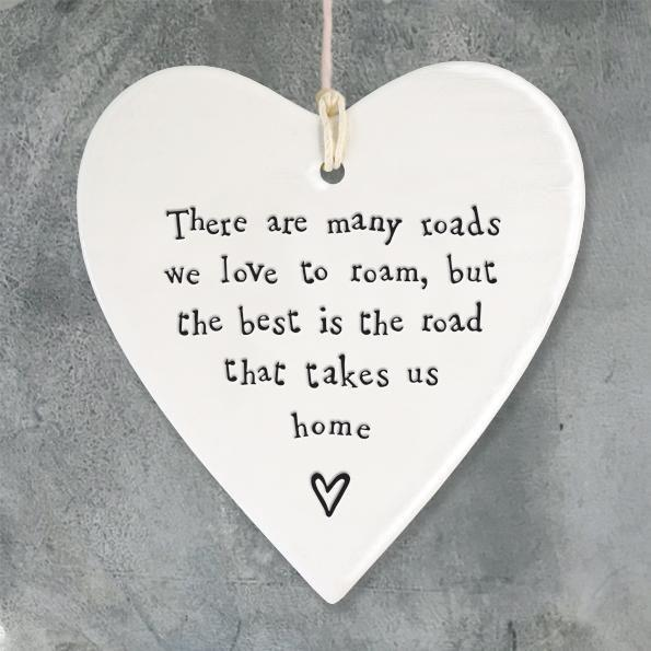 East of India Porcelain Round Heart - Roads We Love To Roam - Coorie Doon