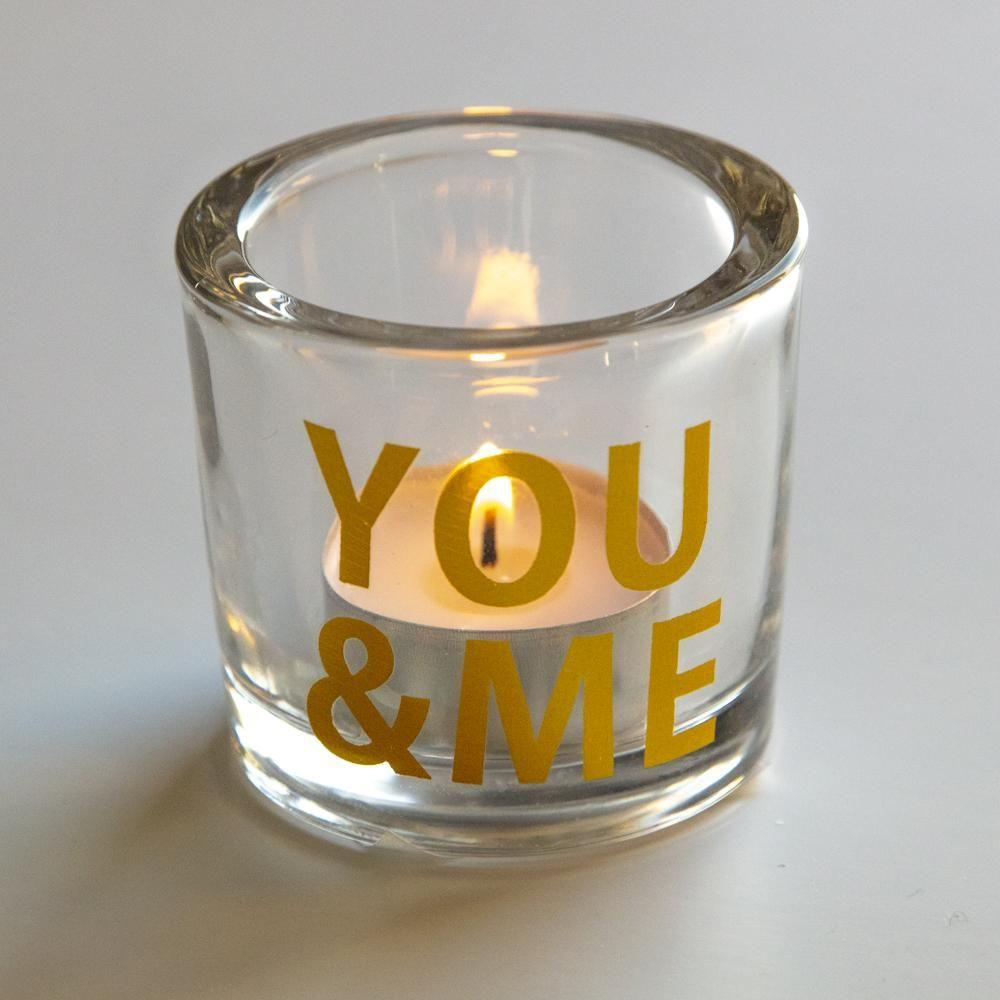 You & Me Gold Glass Candle Holder - Coorie Doon