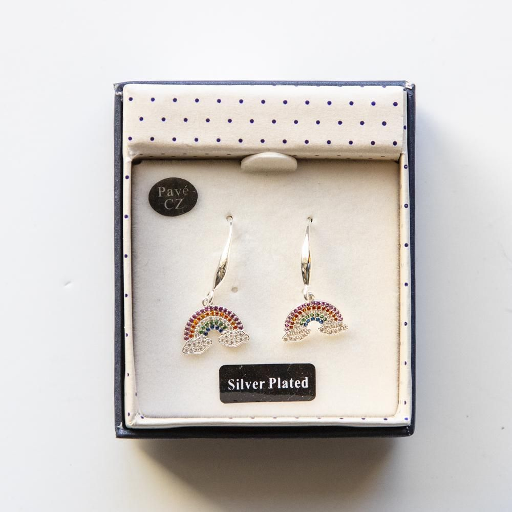 Colourful Diamond Rainbow Silver Plated Earrings - Coorie Doon