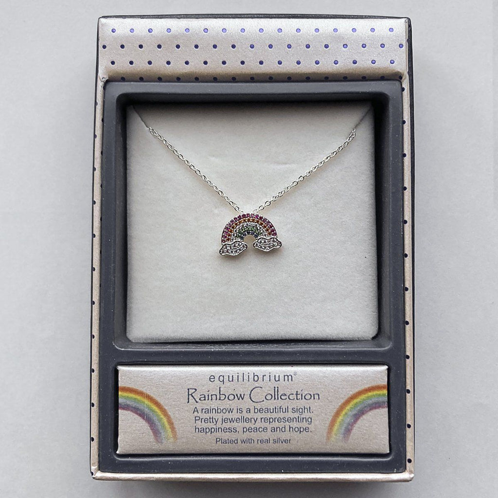 Colourful Diamond Rainbow Silver Plated Necklace - Coorie Doon