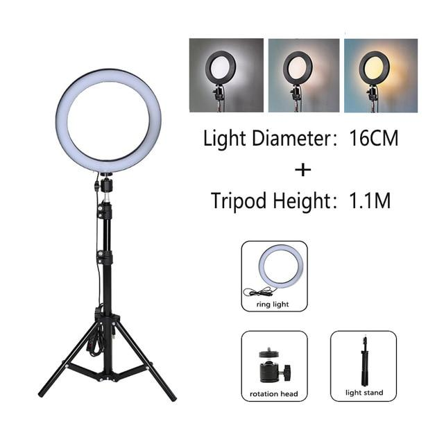 Ring Light LED Pro - 16cm / 1.10 M Tripé - Original