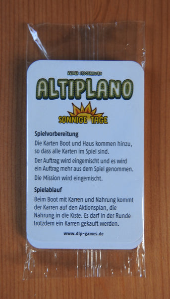 View of the front of the deck of cards in the Altiplano Sunny Days mini expansion.