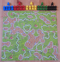 Top view showing all the lanscape tiles and meeples included in this Carcassonne base game.