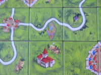 Close-up view of 6 of the landscape tiles, showing roads, gardens, monasteries and cities.