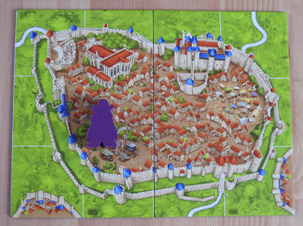 Top view of the 2 large tiles and the Count meeple figure that comes with this Count Carcassonne Mini Expansion.