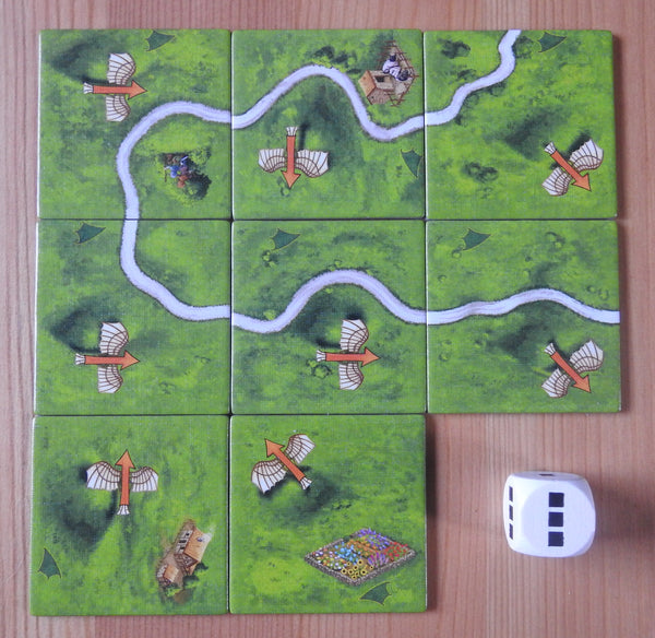Top view of the 8 flying machines tiles and the die that also comes with it.