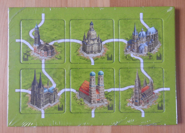 Front view of the 6 German Cathedrals tiles for this Carcassonne mini expansion.