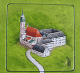 Beautiful German monastery set against the emerald background of the tile.