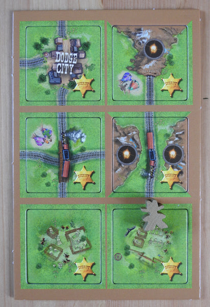 View of the six Carcassonne Gold Rush - Sheriff mini expansion tiles.