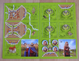 Top view of the 12 tiles and 4 tokens that come with this King, Robber & Cult Carcassonne Mini Expansion.