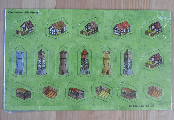 Front view of the 18 buildings included in this Little Buildings Carcassonne Mini Expansion.