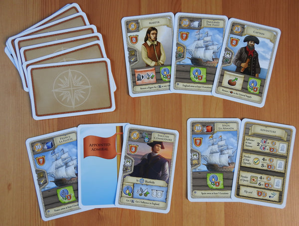 Top view showing a selection of the cards included in this Maracaibo Armada mini expansion.