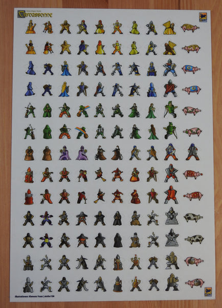 Sticker sheet of 130 meeple stickers to attach to pieces used in the Carcassonne board game.