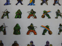 Close-up of two rows of Carcassonne meeple stickers, showing archers and leprechauns.