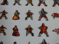 Close-up of two rows of Carcassonne meeple stickers, showing medieval knights and wizards.