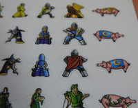 Close-up of four rows of Carcassonne meeple stickers, showing pigs and medieval knights!