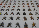 Close-up of half the sheet of Carcassonne meeple stickers, showing bishops, witches and medieval jugglers.