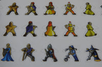 Close-up of three rows of Carcassonne meeple stickers, showing various medieval characters such as monks, jugglers and knights.