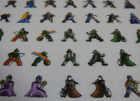 Close-up of five rows of Carcassonne meeple stickers, showing leprechauns and shepherds.