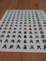 Long-shot showing the 13 rows of Carcassonne meeple stickers, with 10 stickers on each row.