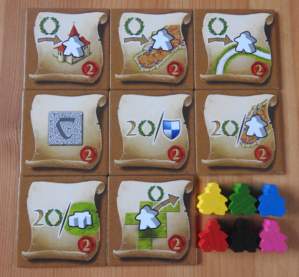 Top view of the 8 messenger tiles along with the 6 mini messenger meeple figures.