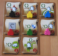 Another view showing the mini messenger meeples on the tiles.