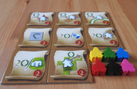 Side view of the tiles and messenger meeples.