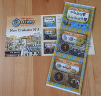 Top view of the 3 new place tiles and rules included with this Orleans - New Place Tiles No.3 mini expansion.