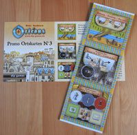 Top view showing the three place tiles in the Orleans Promo No.3, along with the rules card.